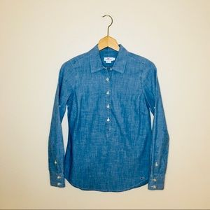 vineyard vines / chambray denim popover blouse